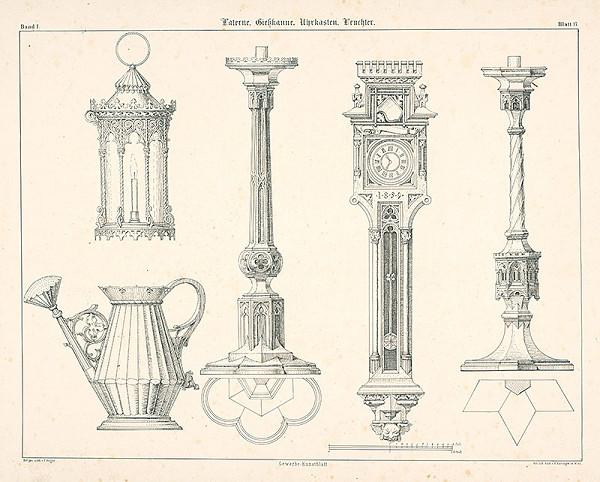 Franz Storno - Návrh na laternu, konvicu, hodiny, svietniky (z cyklu Gewerbe Kunstblatt)