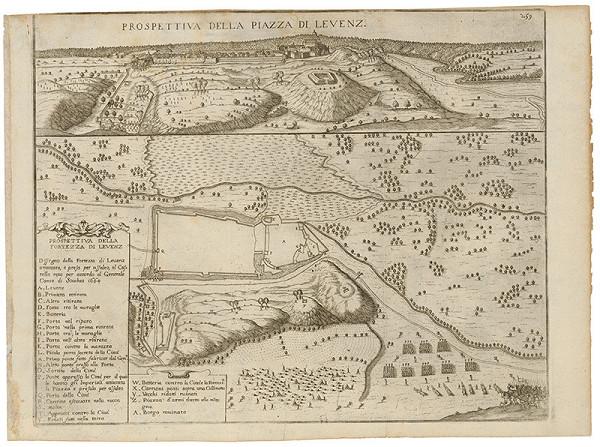 Neznámy grafik – Pohľad a pôdorys pevnosti v Leviciach - dvojobraz