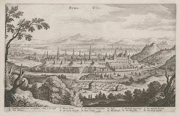 Neznámy grafik, Matthäus Merian – Pohľad na Budín
