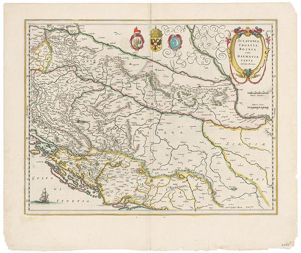 Neznámy grafik – Mapa Slavónska, Chorvátska, Bosny a časti Dalmácie