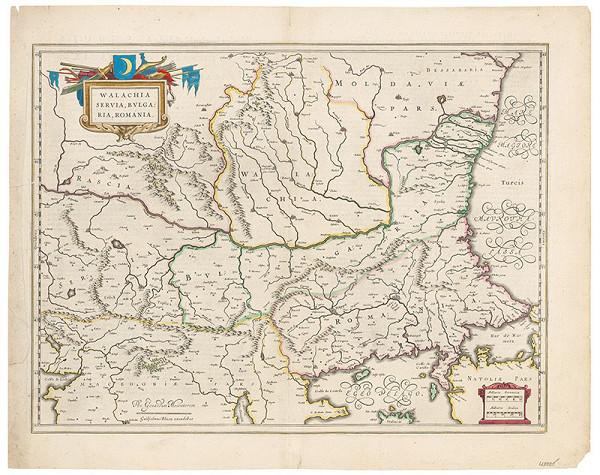 Neznámy grafik – Mapa Valašska, Srbska, Bulharska a Rumunska