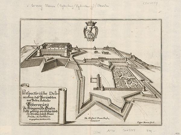 Kaspar Merian - Pohľad na hrad Červený Kameň