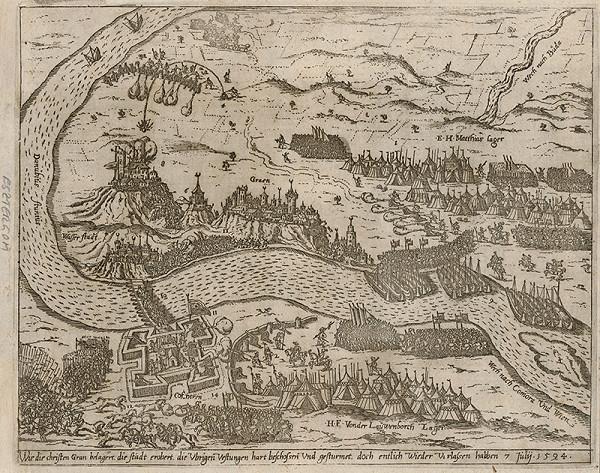 Neznámy grafik - Pohľad na Ostrihom a Štúrovo s obliehaním v roku 1594