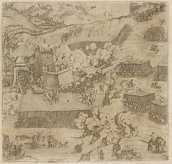 Neznámy grafik - Pohľad na obliehanie Stoličného Belehradu v roku 1593