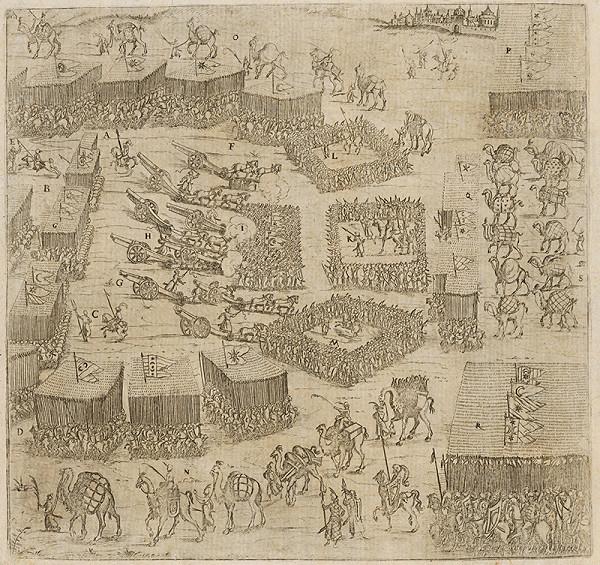 Neznámy grafik - Pohľad na bitku o Stoličný Belehrad v roku 1593