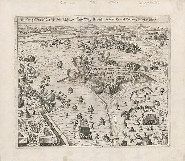 Neznámy grafik - Obliehanie pevnosti Nové Zámky generálom Buquoyom