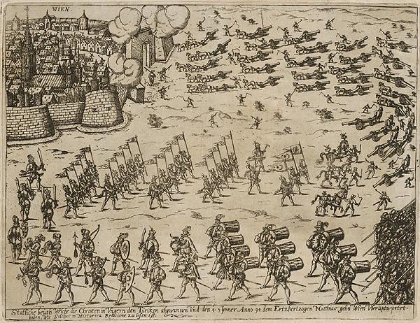 Neznámy grafik - Privezenie koristi z tureckých vojen v Uhorsku do Viedne v roku 1594