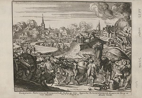 Romeyn de Hooghe, Neznámy grafik – Obliehanie Viedne - kopanie zákopov a príprava diel