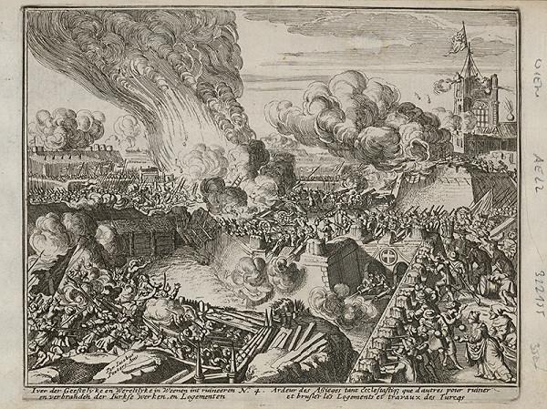 Romeyn de Hooghe, Neznámy grafik - Obliehanie Viedne Turkami - útok na hradby