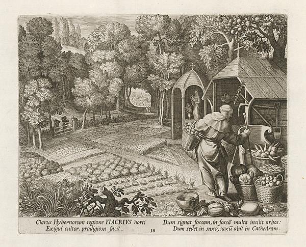 Maarten de Vos st., Raphael Sadeler I. - Sv. Fiacrius - pustovník