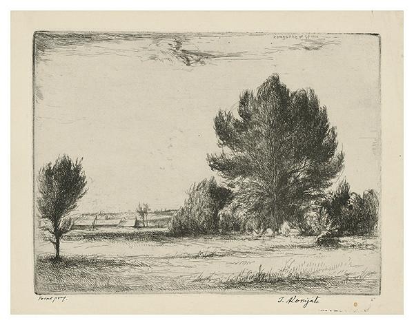 Gyula Komjáti - Krajina so skupinou stromov