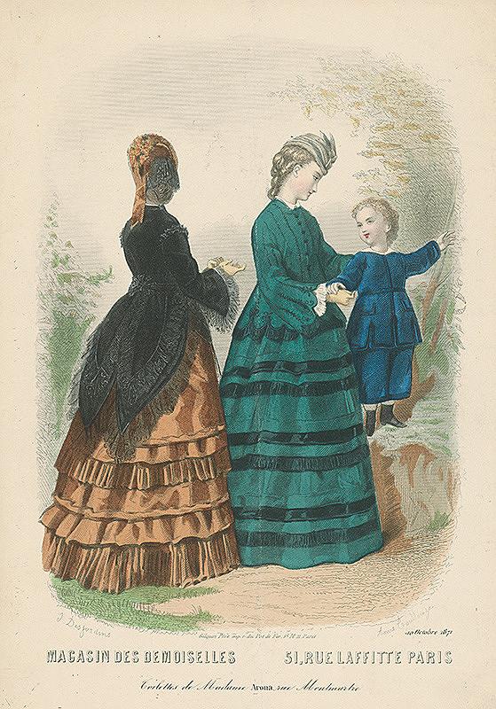 Adele-Anais Toudouze, Louis-Joseph-Isnard Desjardins - List z módneho časopisu Magasin des Demoiselles. Toalety Madame Arona