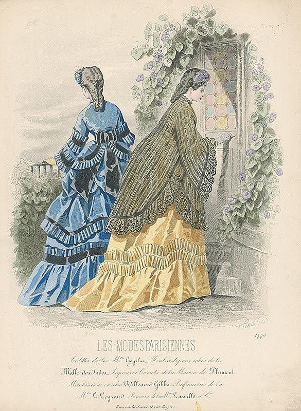 *, Francois Claudius Compte-Calix, Atelier Lacouriere – List z módneho časopisu Les Modes Parisiennes. Vychádzkové šaty podľa návrhu Mon.Gagelina