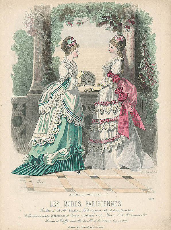 Francois Claudius Compte-Calix, A. Carrache – List z módneho časopisu Les Modes Parisiennes. Slávnostné šaty od Mon.Gagelina