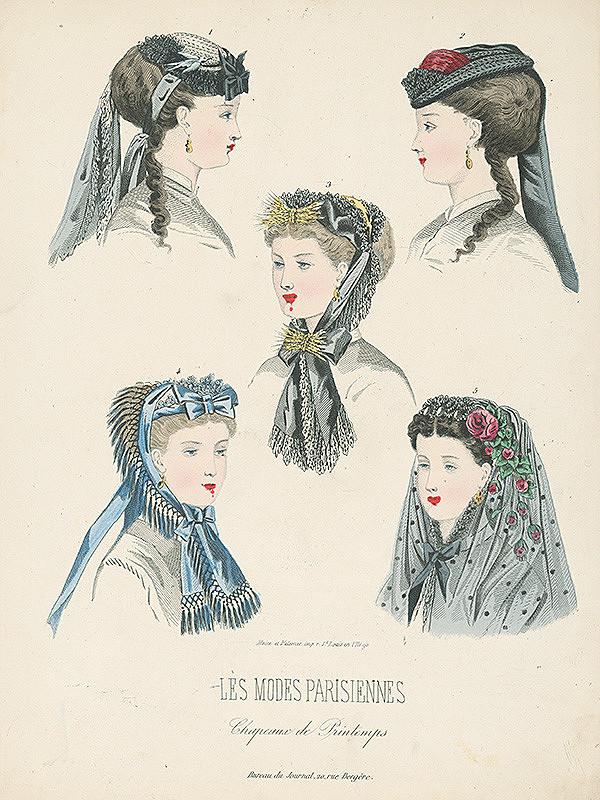 Francúzsky karikaturista z 19. storočia, Francúzsky grafik – List z módneho časopisu Les Modes Parisiennes. Jarné klobúky