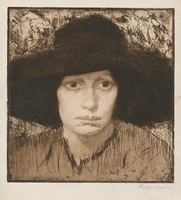 Eugen Krón - Hlava ženy v tmavom klobúku