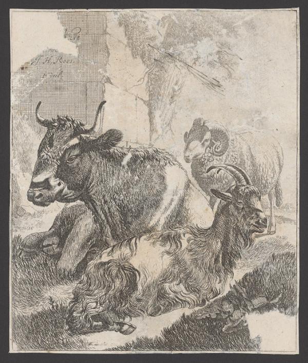 Johann Heinrich Roos – Titulný list k sérii domácich zvierat