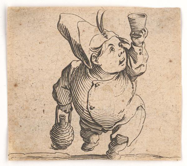 Jacques Callot - Pidimužík s pohárom a fľašou