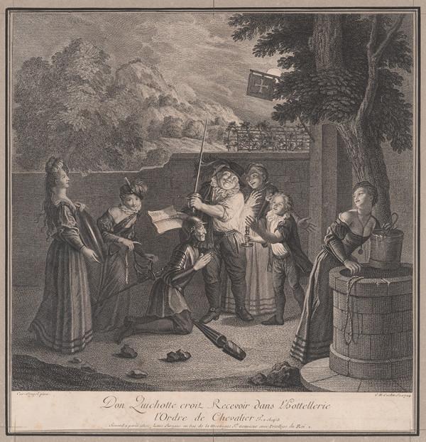 Charles-Nicolas Cochin ml., Charles-Antoine Coypel – Dona Quijota pasujú na rytiera