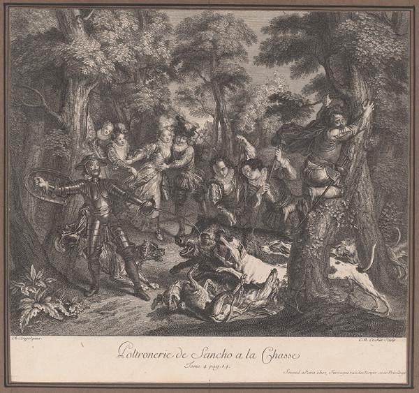 Charles-Nicolas Cochin ml., Charles-Antoine Coypel – Sanchova zbabelosť na love