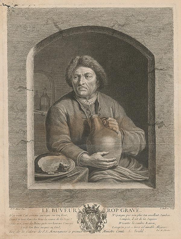 Louis Michel Halbou, Frans van Mieris - Chlap s udeným a džbánom