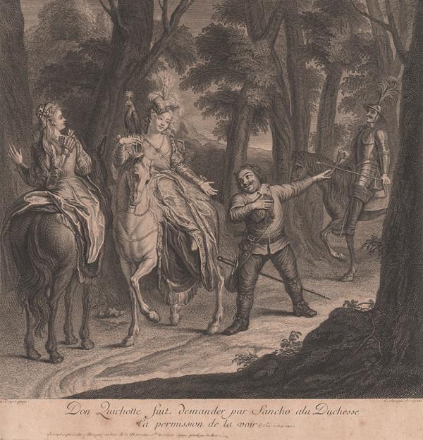Pierre Louis Surugue, Charles-Antoine Coypel – Sancho sprostredkúva stretnutie medzi Donom Quijotom a kňažnou