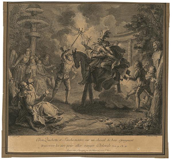 Charles-Antoine Coypel, Nicolas Henri Tardieu – Don Quijote na drevenom koni