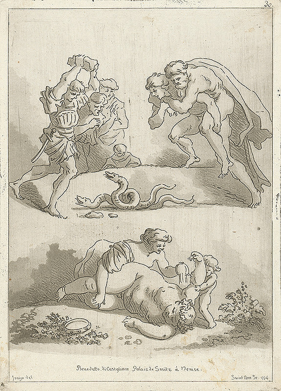 Jean-Honoré Fragonard, Jean Claude Richard de Saint-Non – Štúdie podľa malieb Benedetta di Castiglione v paláci De Smitz v Benátkach