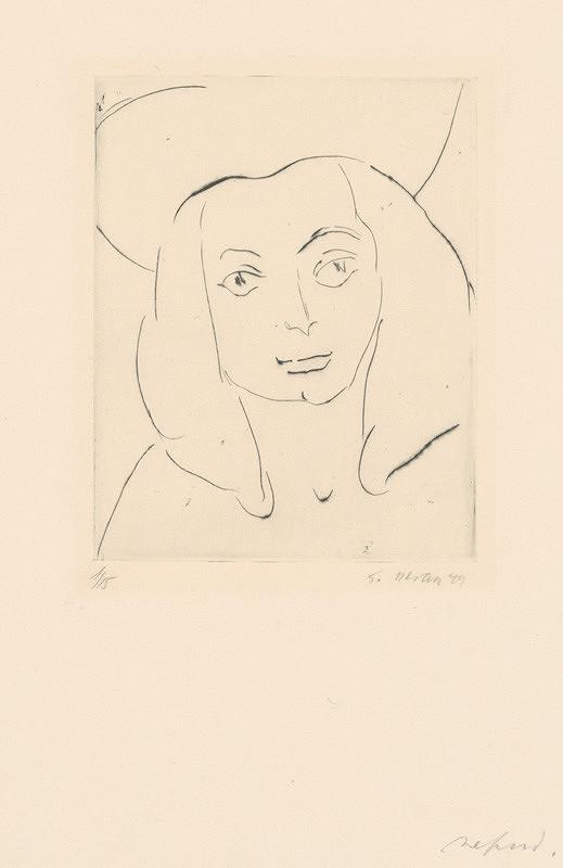 Eugen Nevan - Žena so svetlými očami v klobúku