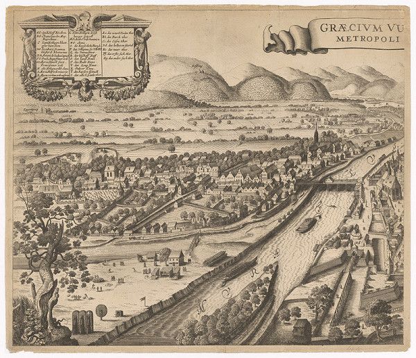 Václav Hollar – Veduta Grazu, ľavá časť