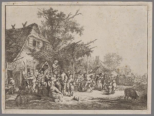 Adriaen van Ostade - Slávnosť pod podlubím
