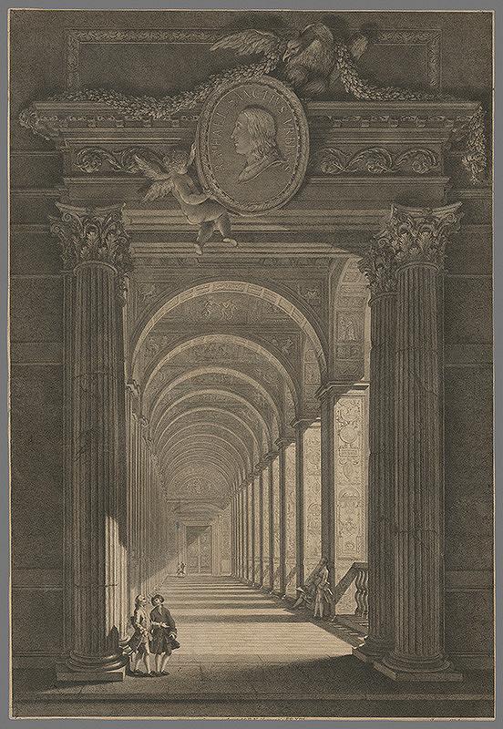 Západoeurópsky autor z 18. storočia – Stĺpový palácový priestor so stropným erbom Raphael Sanctus Urbinas.