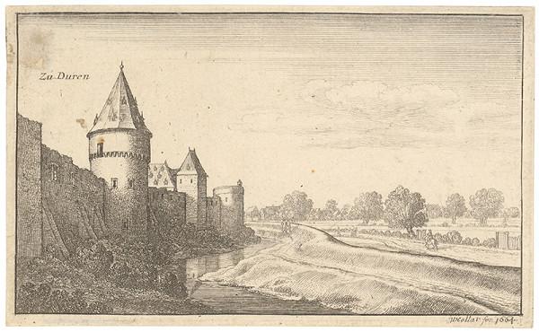 Václav Hollar – Pohľad na krajinu s hradbami v Dürene