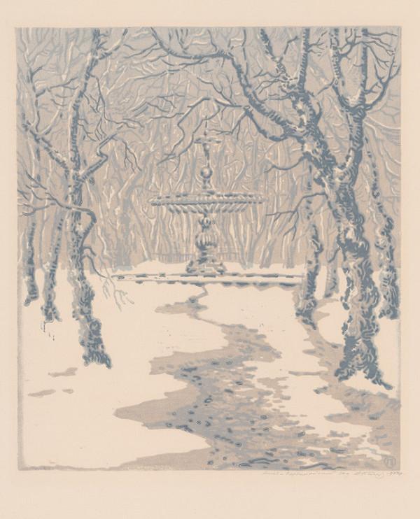 Olexandr  Sofonovyč Paščenko – Prvomájový park v zime fontána