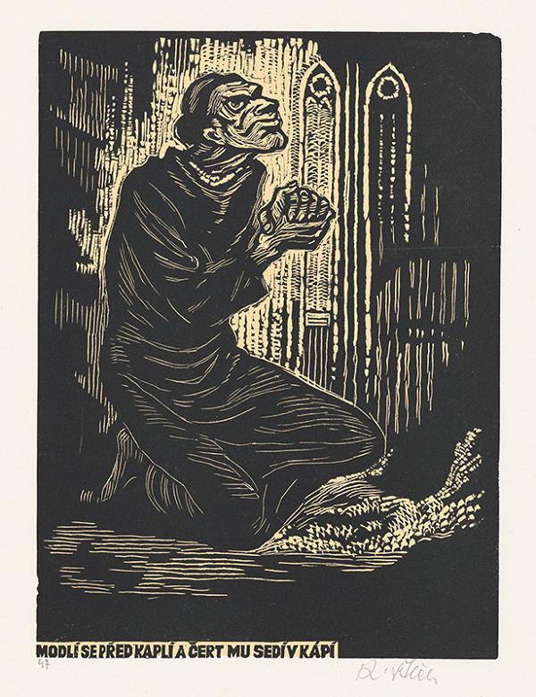 Karel Štěch - Modlí sa před kaplí a čert mu sedí v kápí