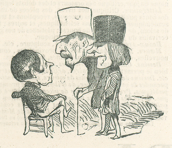 Francúzsky karikaturista z 19. storočia – Traja debatujúci