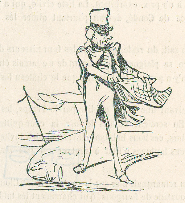 Francúzsky karikaturista z 19. storočia – Muž so šatkou