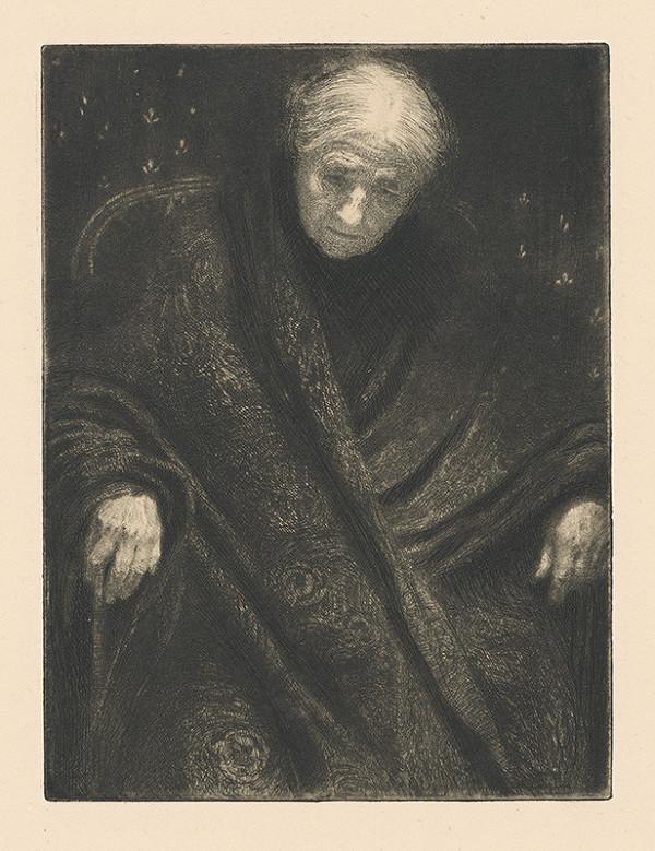 Max Švabinský - Babička so šatkou