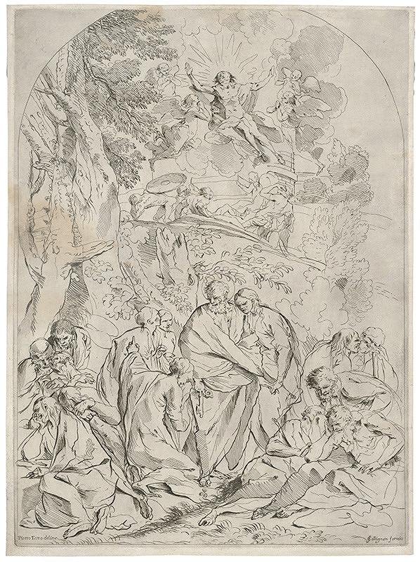 Pietro Testa - Biblický výjav so sv.Petrom, Nanebevstúpenie Krista