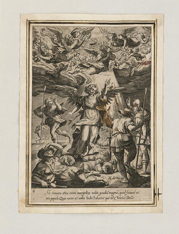 Maarten de Vos st. - Anjel oznamuje pastierom narodenie Krista