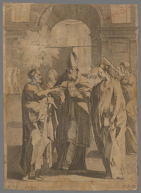 Západoeurópsky rytec zo 16. storočia – Zasnúbenie Panny Márie