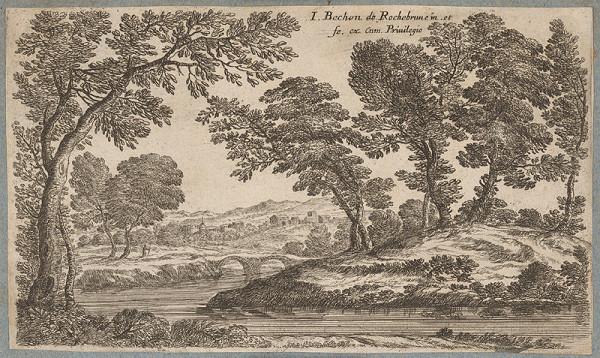Jean Bechon de Rochebrune - Krajina s riekou a mostom