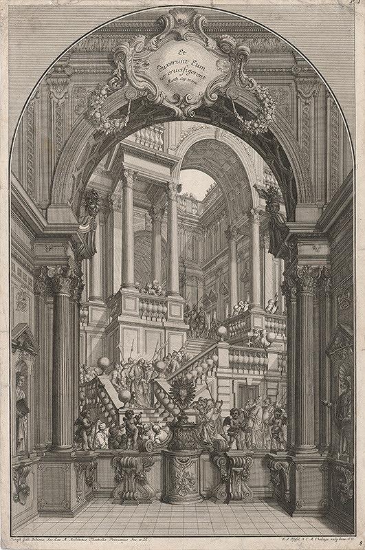 Johann Andreas Pfeffel, Giuseppe Galli Bibiena  - Pašiový motív v iluzívnej architektúre – Nesenie kríža (I,8)