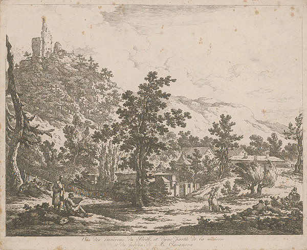 Francúzsky autor z 18. storočia – Pohľad na okolie Brill a časť domu a záhrady pána Casanovu