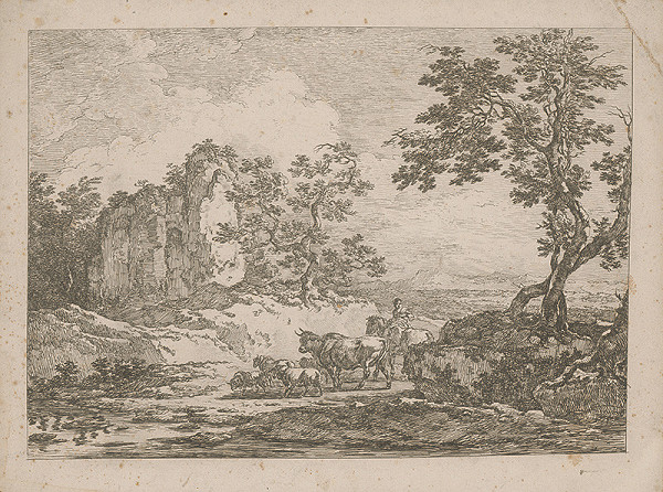 Francúzsky autor z 18. storočia – Romantická krajina so stádom