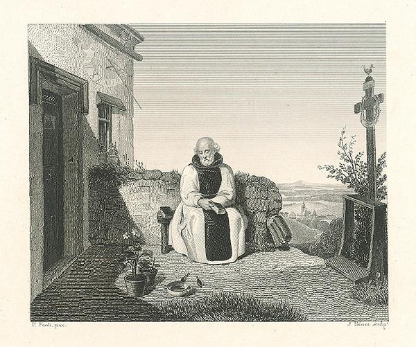 Peter Fendi, J. Palsini, Johann Nepomuk Passini - Oddychujúci mních v záhrade
