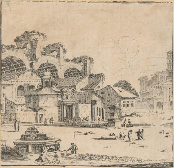 Stefano della Bella – Starorímske zrúcaniny Maxentiovej baziliky