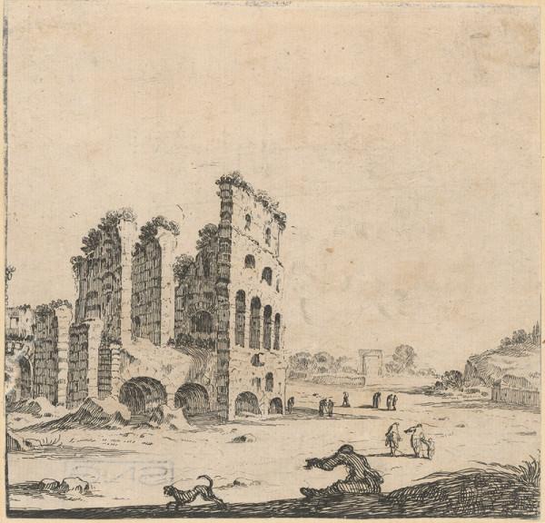 Stefano della Bella – Zrúcaniny amfiteátru
