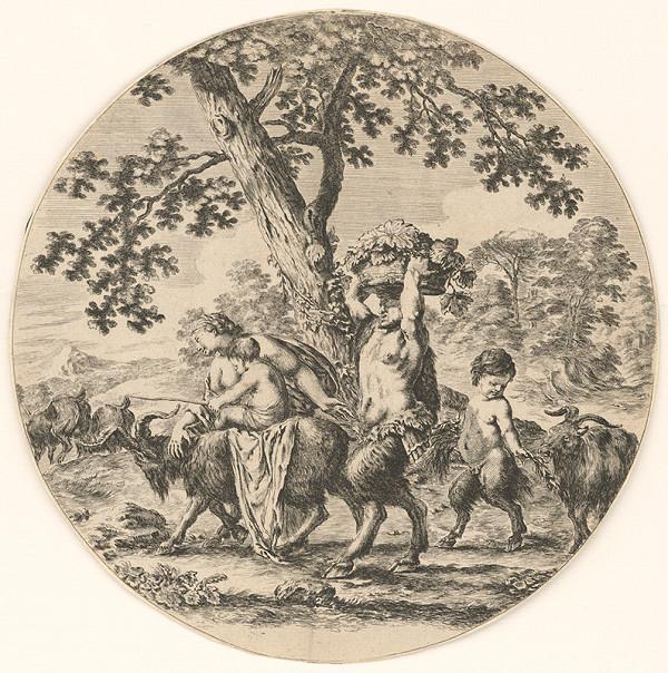 Stefano della Bella – Satyr s rodinou