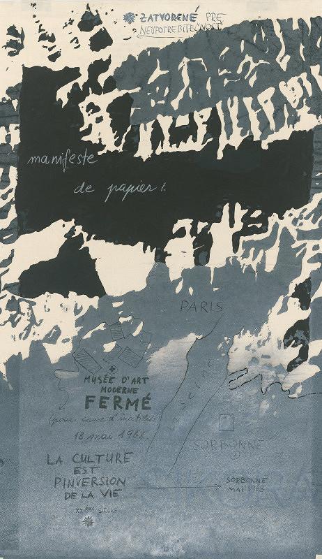 Rudolf Sikora - Topografia 6 (Spomienka na Paríž 1968, Papierový manifest)